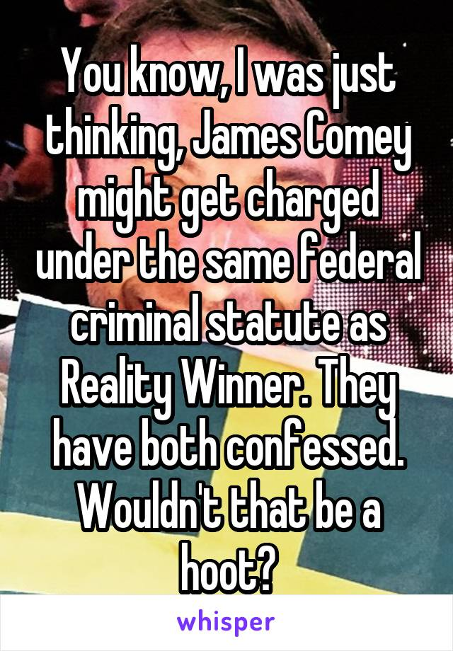 You know, I was just thinking, James Comey might get charged under the same federal criminal statute as Reality Winner. They have both confessed. Wouldn't that be a hoot?