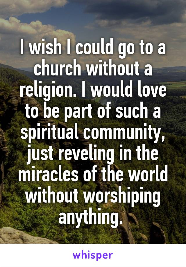 I wish I could go to a church without a religion. I would love to be part of such a spiritual community, just reveling in the miracles of the world without worshiping anything.