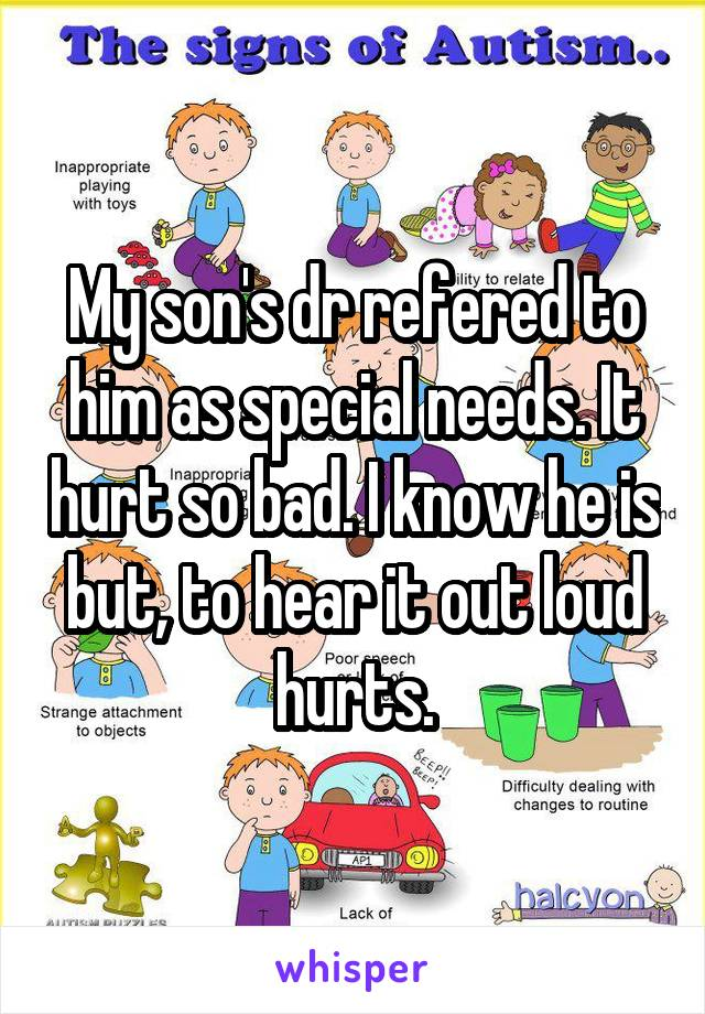 My son's dr refered to him as special needs. It hurt so bad. I know he is but, to hear it out loud hurts.