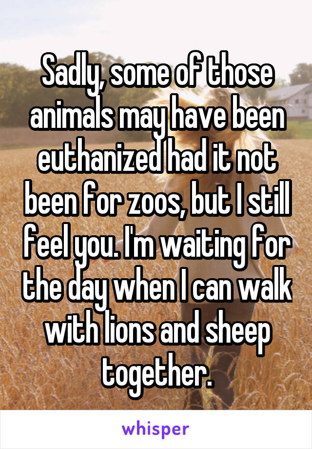 Sadly, some of those animals may have been euthanized had it not been for zoos, but I still feel you. I'm waiting for the day when I can walk with lions and sheep together.