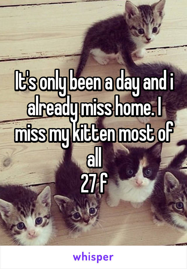 It's only been a day and i already miss home. I miss my kitten most of all 27 f