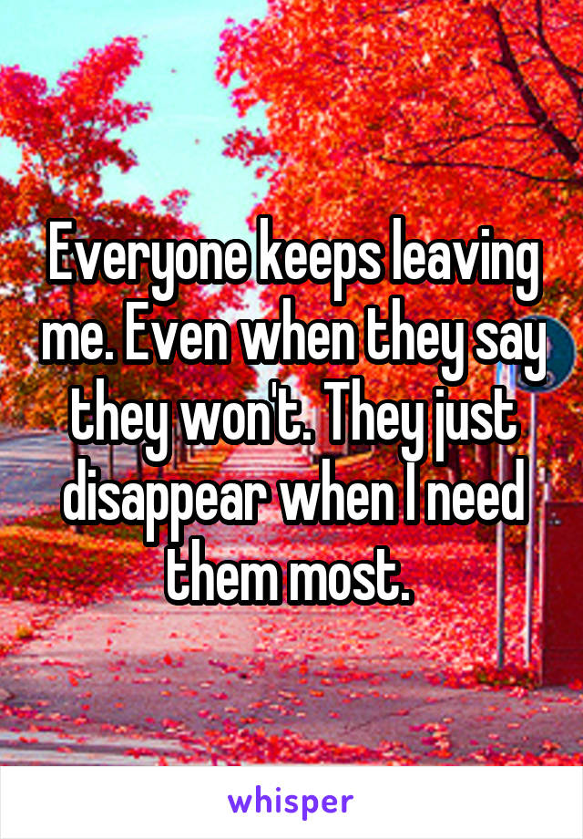 Everyone keeps leaving me. Even when they say they won't. They just disappear when I need them most.