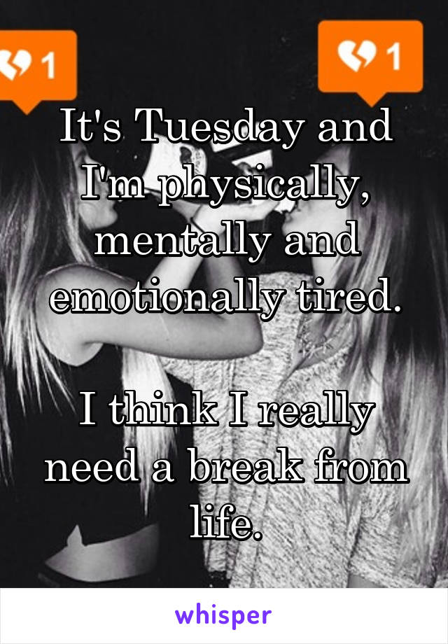 It's Tuesday and I'm physically, mentally and emotionally tired.  I think I really need a break from life.