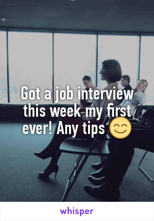 Got a job interview this week my first ever! Any tips 😊