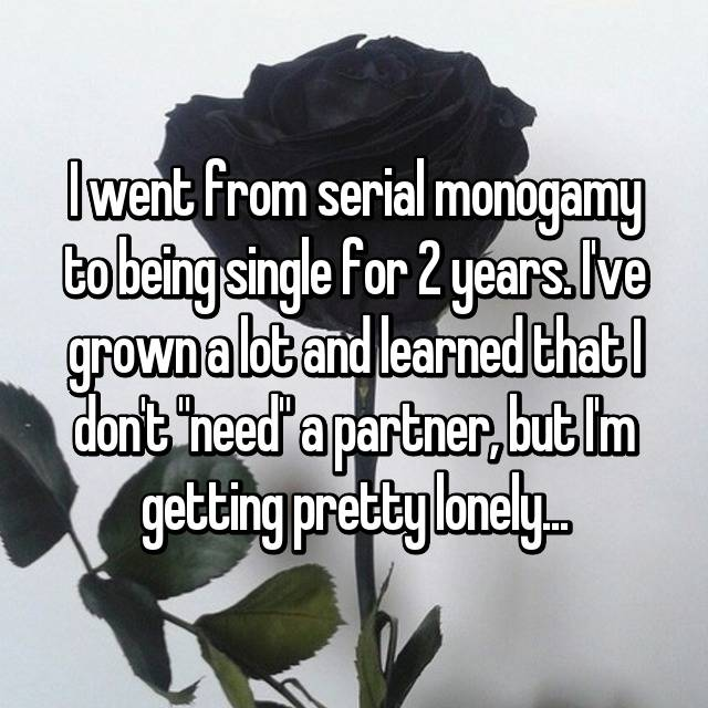 "I went from serial monogamy to being single for 2 years. I've grown a lot and learned that I don't ""need"" a partner, but I'm getting pretty lonely..."