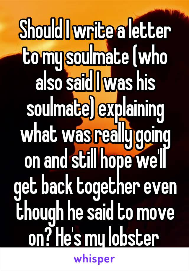 Should I write a letter to my soulmate who also said I was his