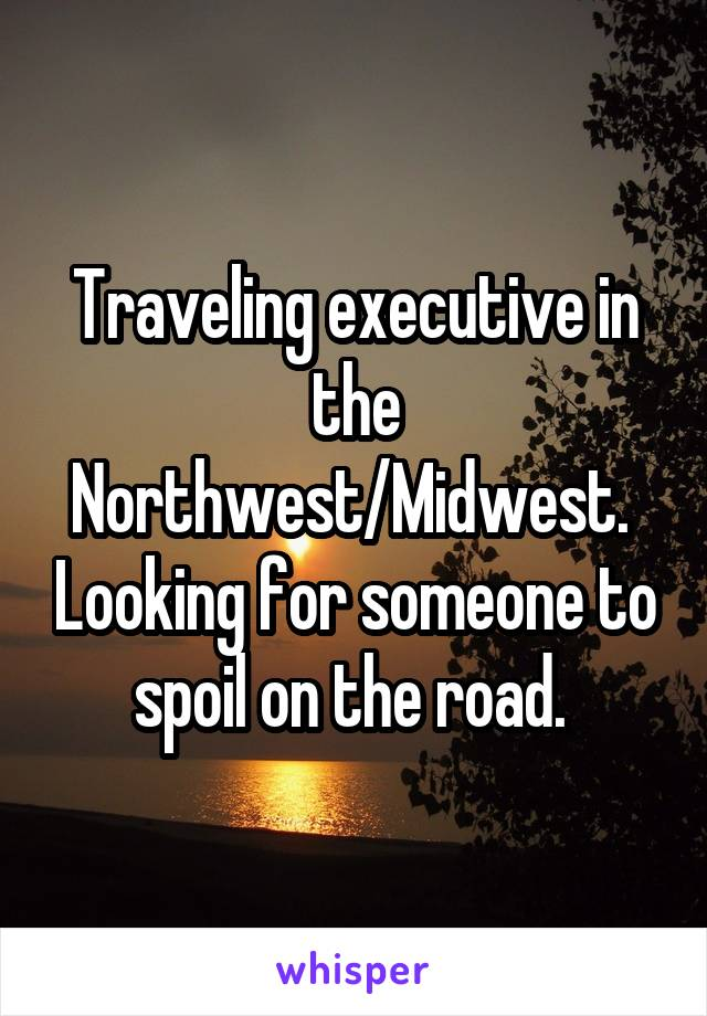 Traveling executive in the Northwest/Midwest.  Looking for someone to spoil on the road.