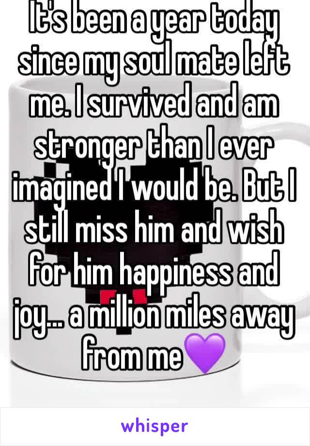 It's been a year today since my soul mate left me. I survived and am stronger than I ever imagined I would be. But I still miss him and wish for him happiness and joy... a million miles away from me💜