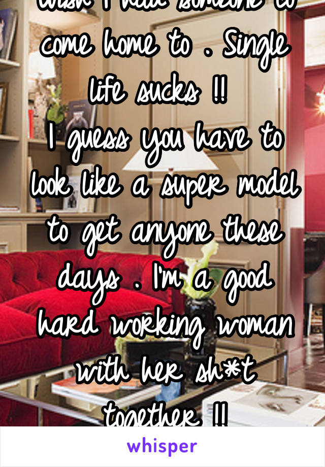 Wish I had someone to come home to . Single life sucks !!  I guess you have to look like a super model to get anyone these days . I'm a good hard working woman with her sh*t together !! 40 SWF