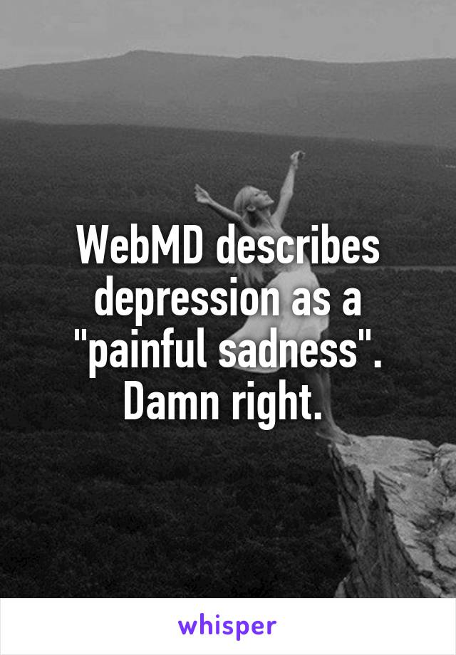 "WebMD describes depression as a ""painful sadness"". Damn right."