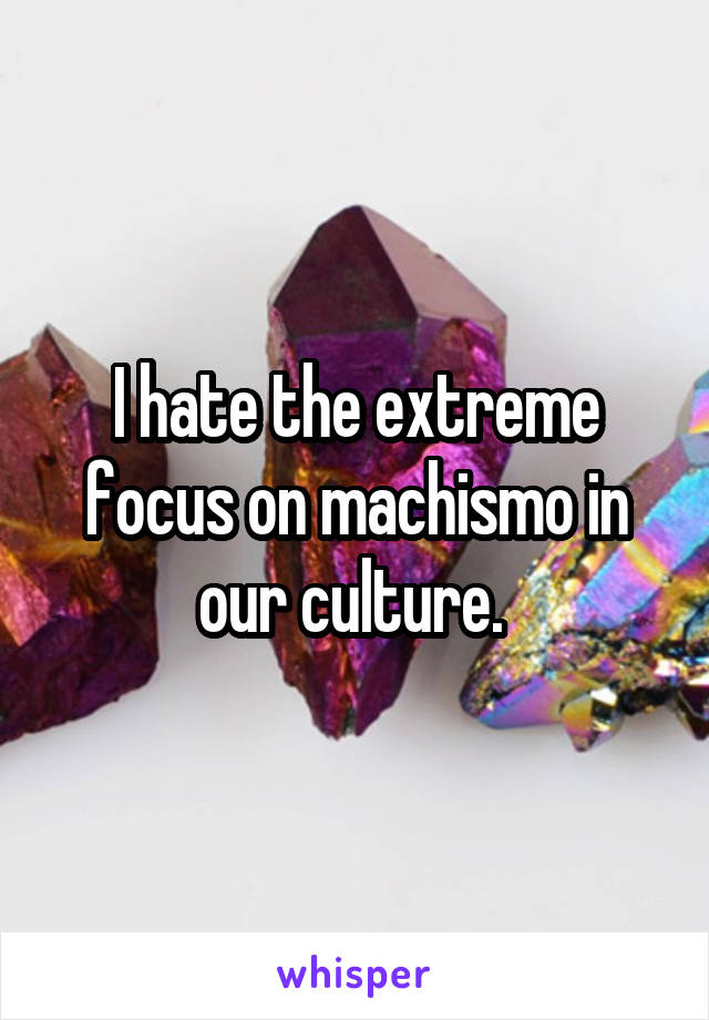 I hate the extreme focus on machismo in our culture.