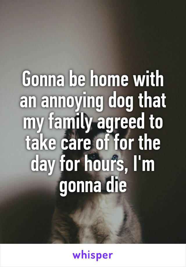 Gonna be home with an annoying dog that my family agreed to take care of for the day for hours, I'm gonna die