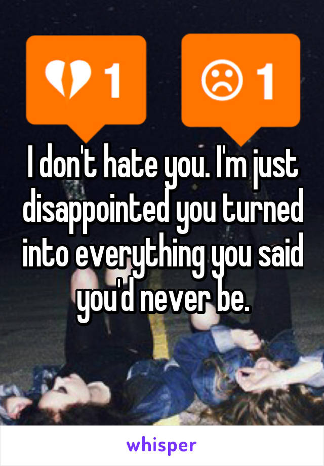 I don't hate you. I'm just disappointed you turned into everything you said you'd never be.