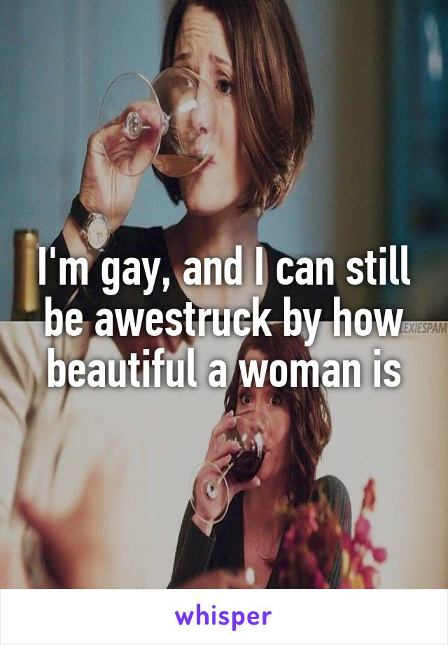 I'm gay, and I can still be awestruck by how beautiful a woman is