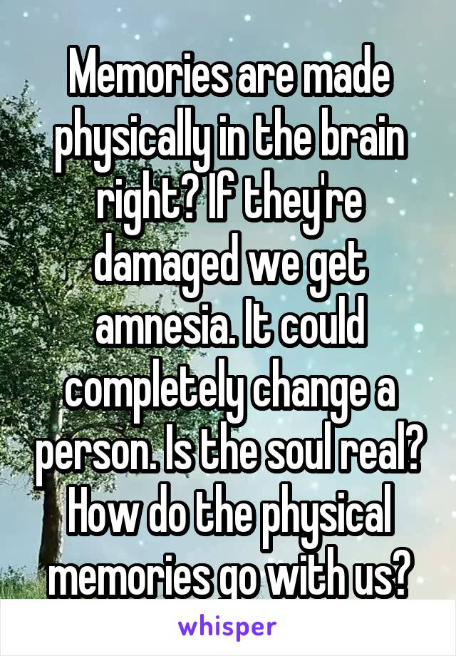 Memories are made physically in the brain right? If they're damaged we get amnesia. It could completely change a person. Is the soul real? How do the physical memories go with us?