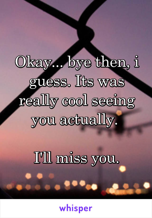 Okay... bye then, i guess. Its was really cool seeing you actually.   I'll miss you.