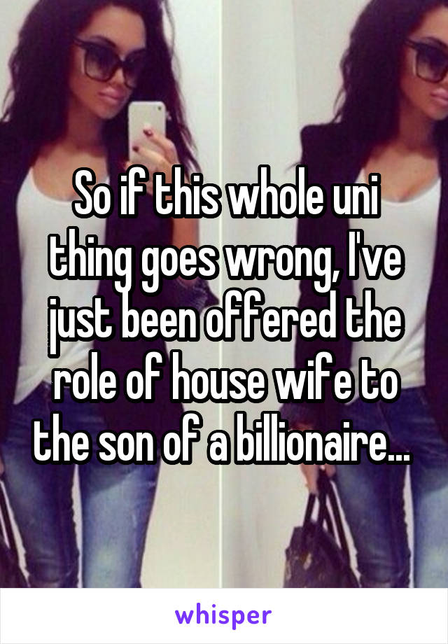 So if this whole uni thing goes wrong, I've just been offered the role of house wife to the son of a billionaire...