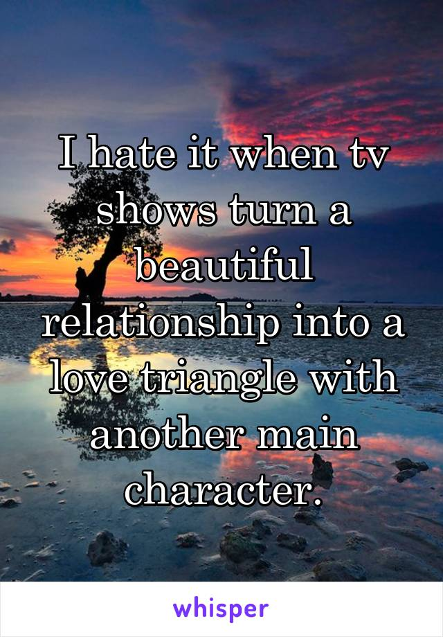 I hate it when tv shows turn a beautiful relationship into a love triangle with another main character.