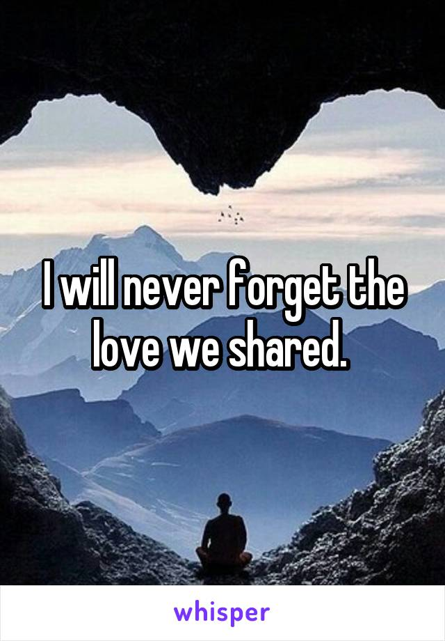 I will never forget the love we shared.