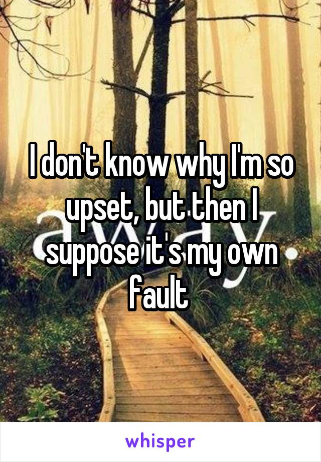 I don't know why I'm so upset, but then I suppose it's my own fault