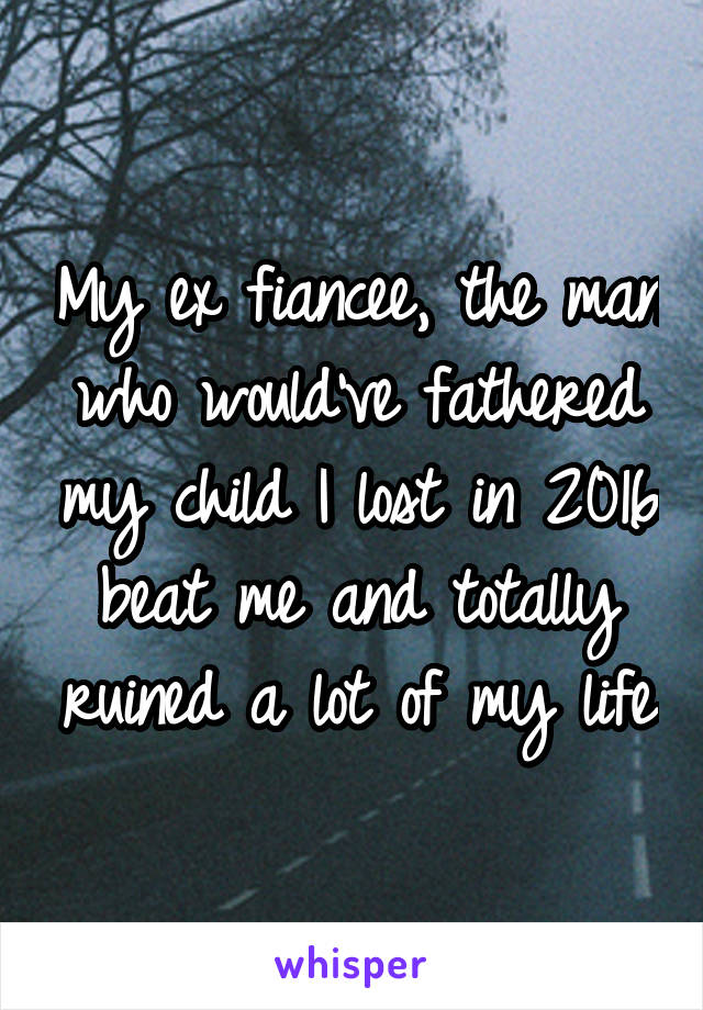 My ex fiancee, the man who would've fathered my child I lost in 2016 beat me and totally ruined a lot of my life