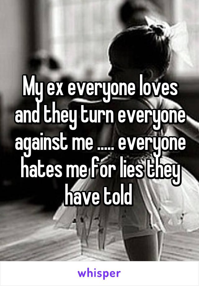 My ex everyone loves and they turn everyone against me ..... everyone hates me for lies they have told