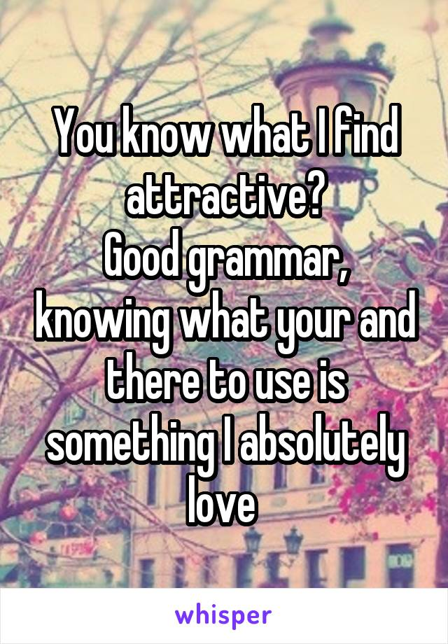 You know what I find attractive? Good grammar, knowing what your and there to use is something I absolutely love