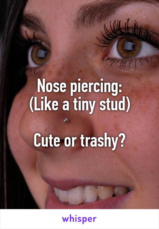 Nose piercing: (Like a tiny stud)  Cute or trashy?