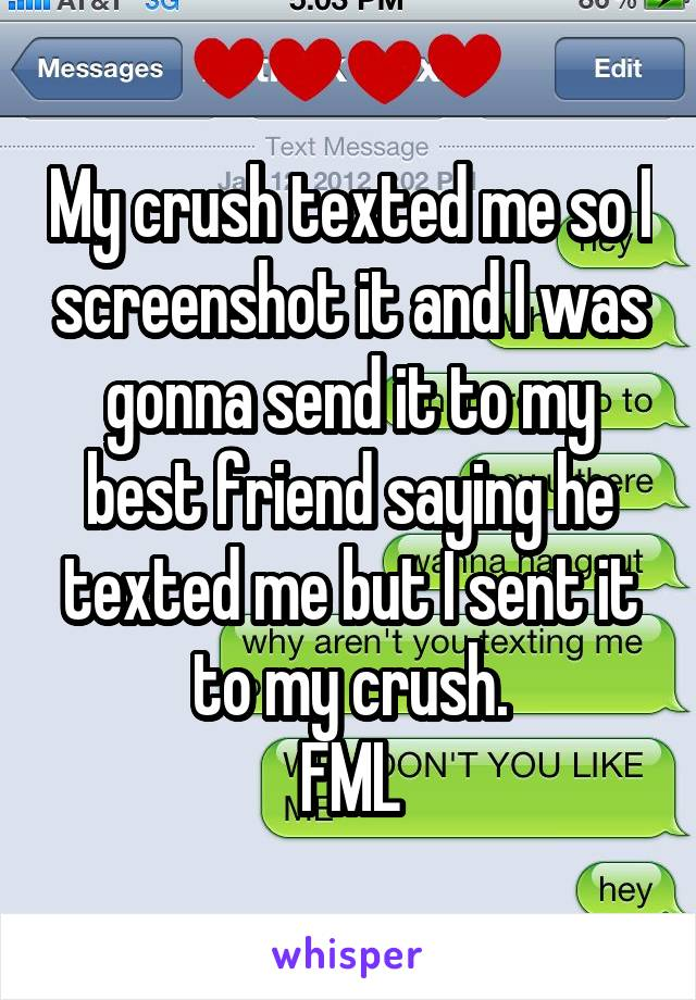 My crush texted me so I screenshot it and I was gonna send it to my best friend saying he texted me but I sent it to my crush. FML