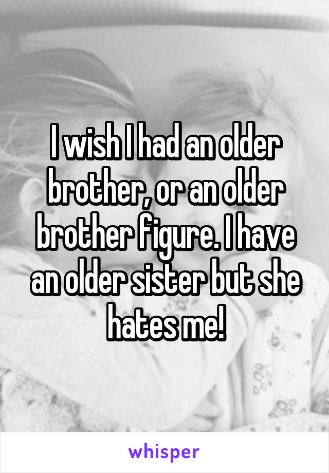 I wish I had an older brother, or an older brother figure. I have an older sister but she hates me!