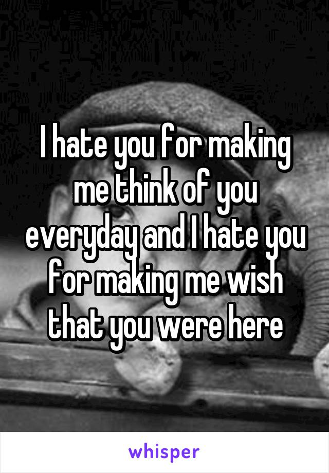 I hate you for making me think of you everyday and I hate you for making me wish that you were here