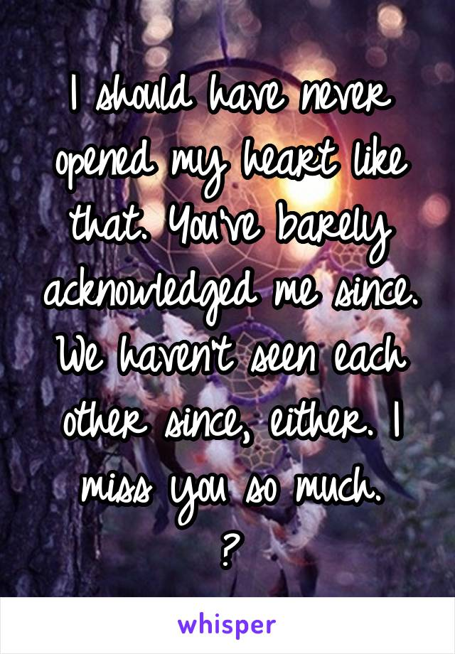 I should have never opened my heart like that. You've barely acknowledged me since. We haven't seen each other since, either. I miss you so much. 💔