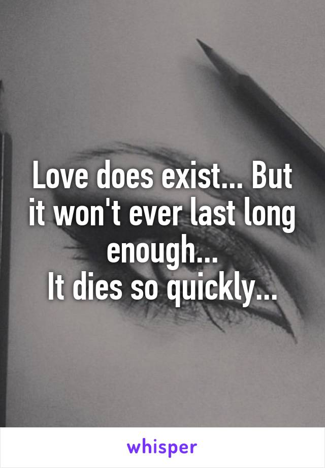 Love does exist... But it won't ever last long enough... It dies so quickly...