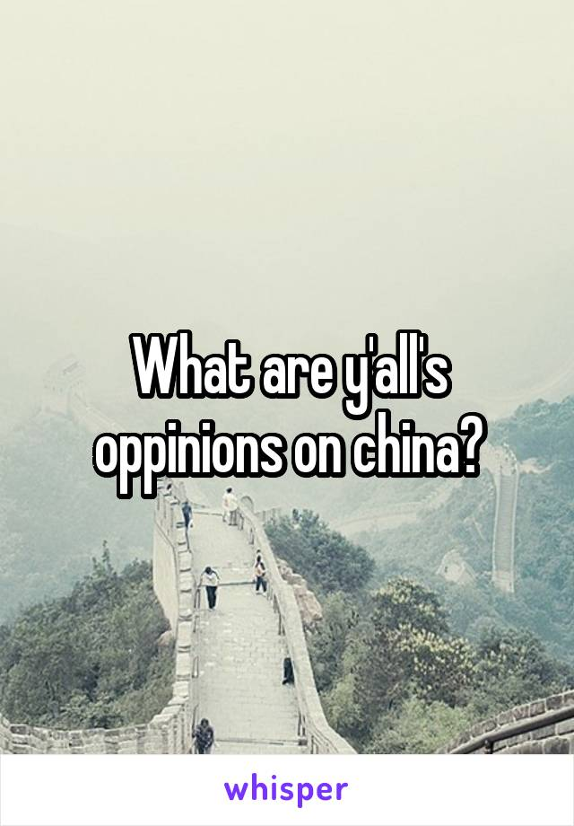 What are y'all's oppinions on china?