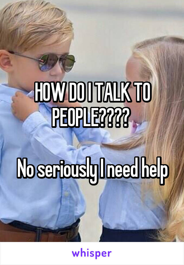 HOW DO I TALK TO PEOPLE????   No seriously I need help