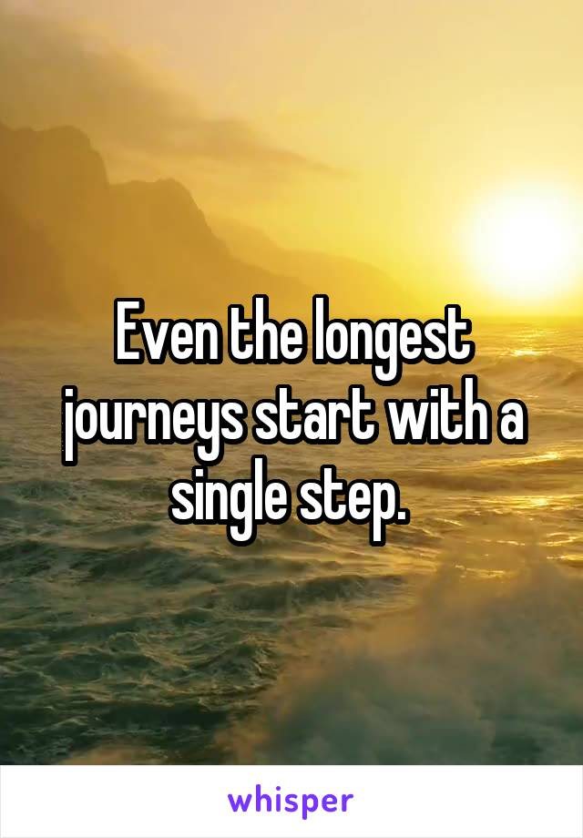 Even the longest journeys start with a single step.