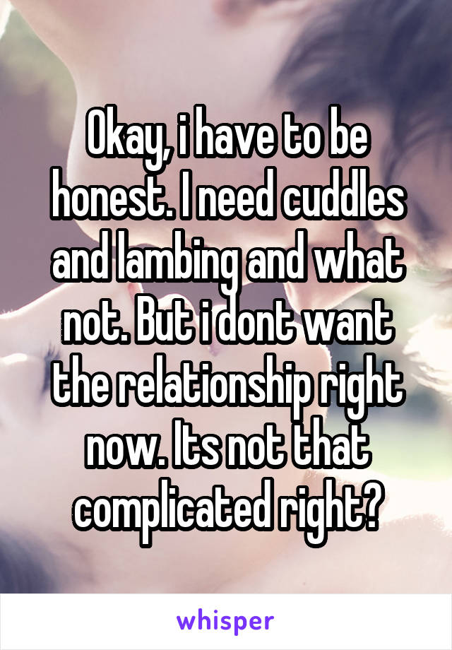 Okay, i have to be honest. I need cuddles and lambing and what not. But i dont want the relationship right now. Its not that complicated right?