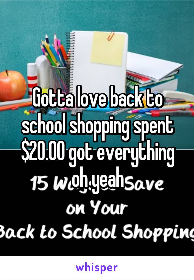 Gotta love back to school shopping spent $20.00 got everything oh yeah