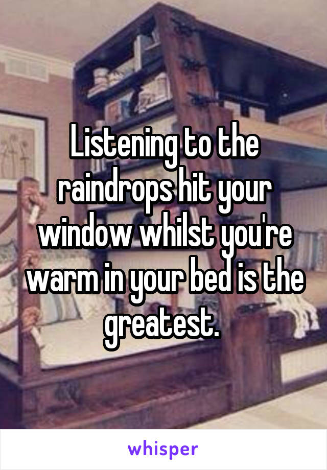 Listening to the raindrops hit your window whilst you're warm in your bed is the greatest.