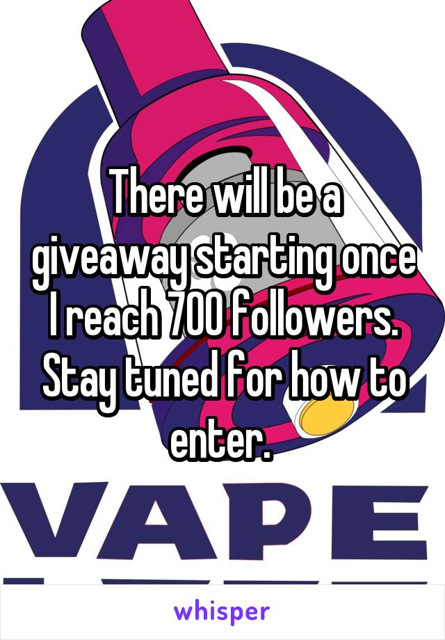 There will be a giveaway starting once I reach 700 followers. Stay tuned for how to enter.