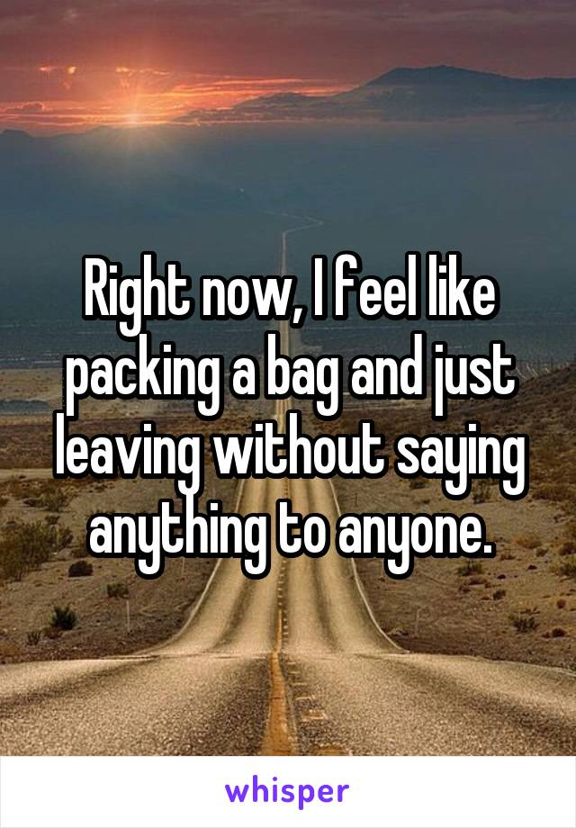 Right now, I feel like packing a bag and just leaving without saying anything to anyone.