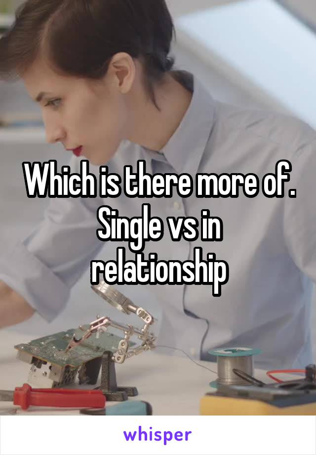 Which is there more of. Single vs in relationship