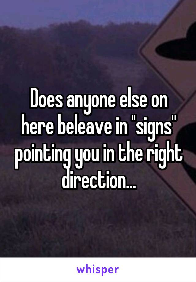 """Does anyone else on here beleave in """"signs"""" pointing you in the right direction..."""