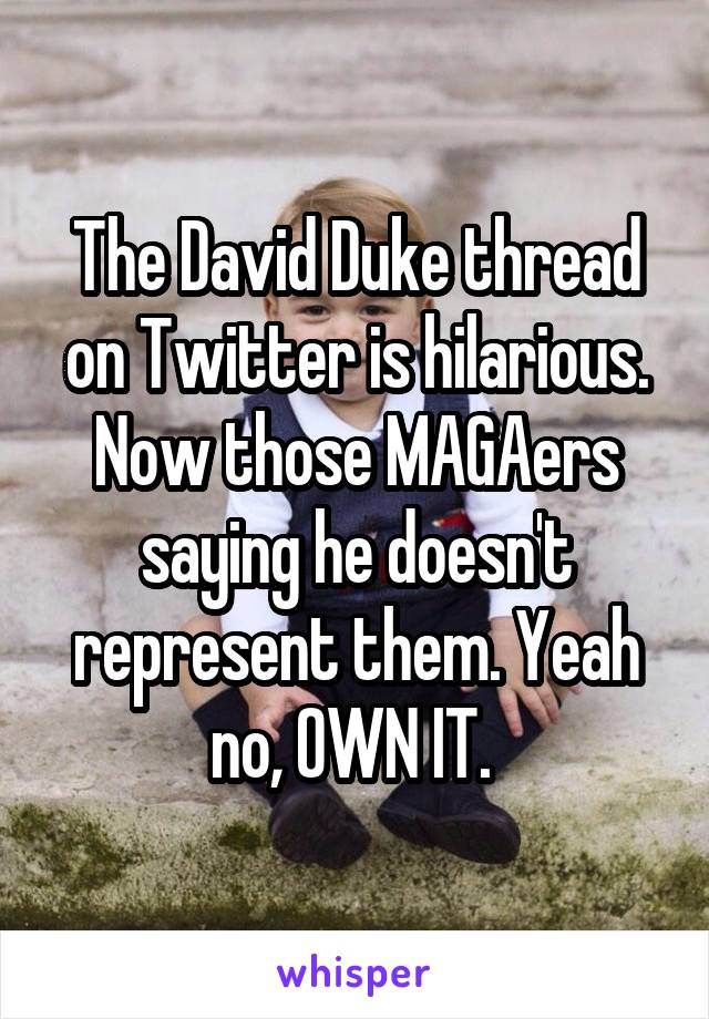 The David Duke thread on Twitter is hilarious. Now those MAGAers saying he doesn't represent them. Yeah no, OWN IT.