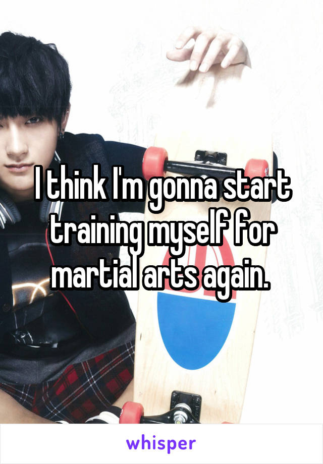 I think I'm gonna start training myself for martial arts again.