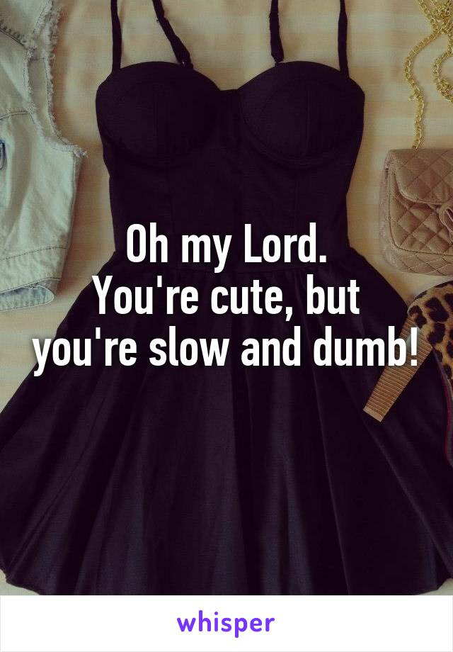 Oh my Lord. You're cute, but you're slow and dumb!