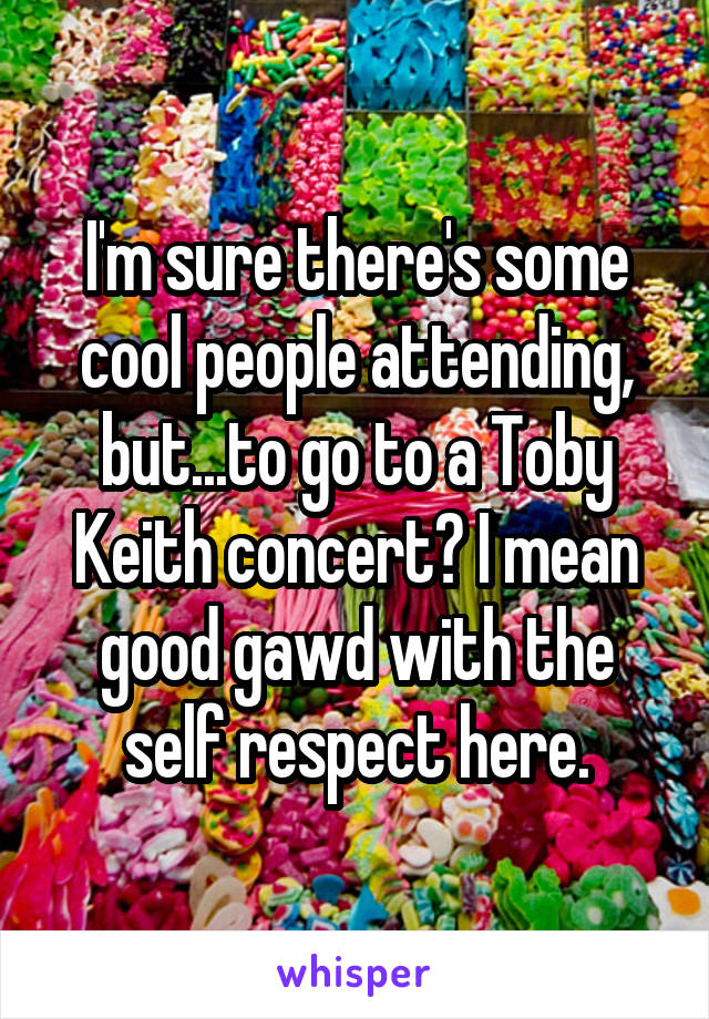 I'm sure there's some cool people attending, but...to go to a Toby Keith concert? I mean good gawd with the self respect here.