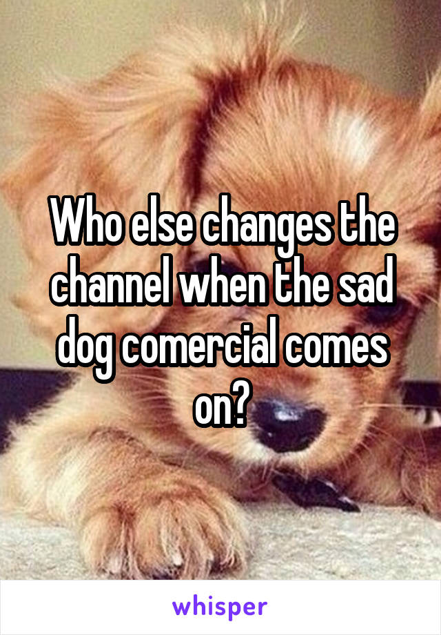 Who else changes the channel when the sad dog comercial comes on?
