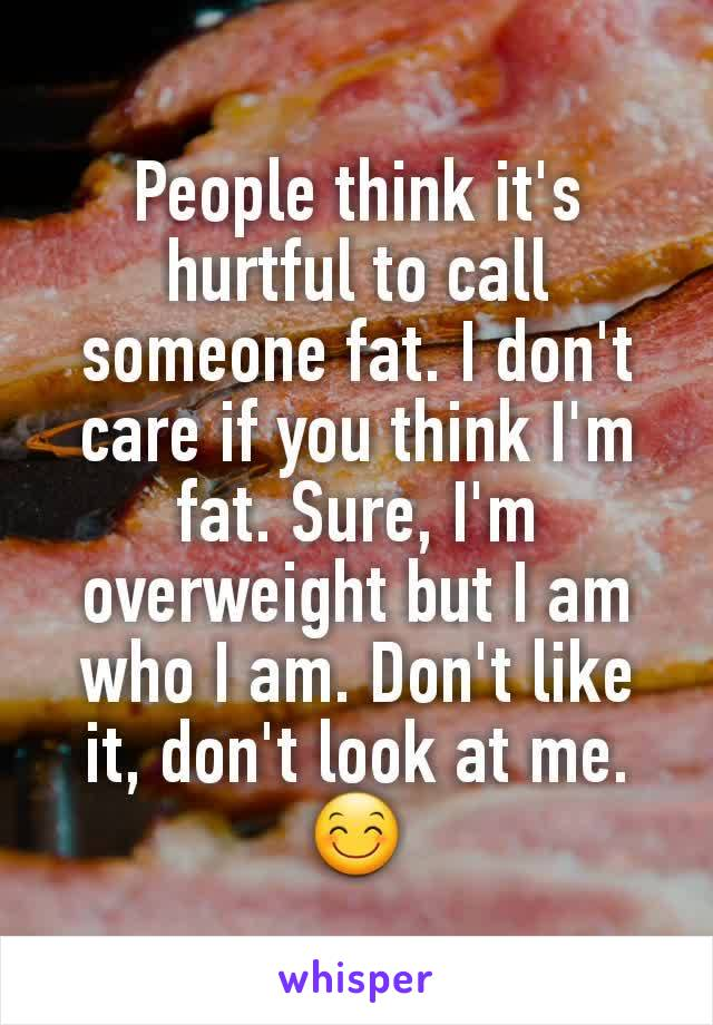People think it's hurtful to call someone fat. I don't care if you think I'm fat. Sure, I'm overweight but I am who I am. Don't like it, don't look at me. 😊