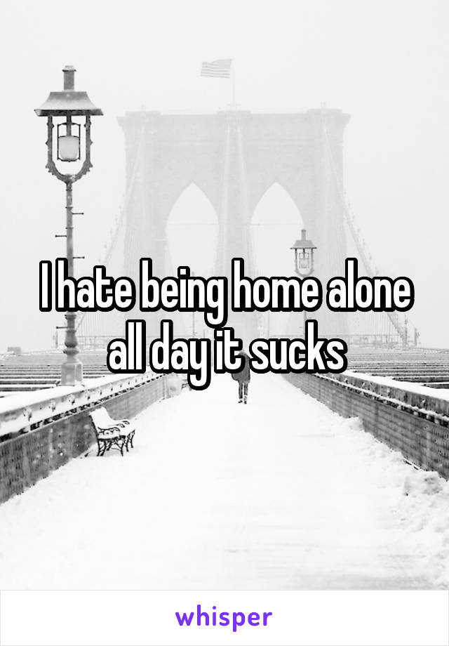 I hate being home alone all day it sucks